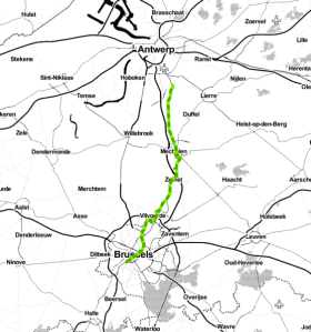 Route taken on Day 1, Brussels to Antwerp.